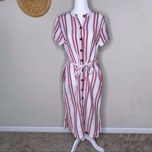 Loft Striped Button Down Dress